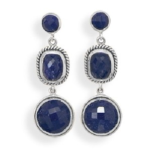 Sterling Silver Sapphire Drop Earrings