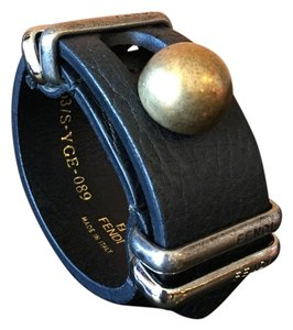 Fendi Brand New Authentic Black Fendi Brass Ball and Leather Buckle Bracelet