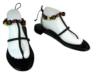 Prada Black Flat Flip Strap Leather Sandals