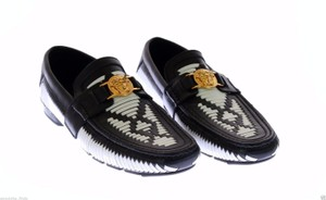 Versace New Versace Woven Black And White Leather Driver Shoe