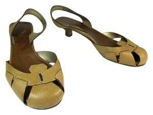 Prada Beige Slingback Heels Leather Tan Sandals
