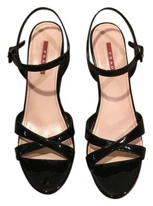 Prada Patent Wedge Casual BLACK Sandals