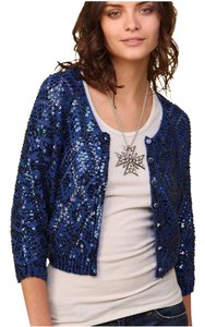 Free People Holiday Sparkle Sparkly Blue Cardigan
