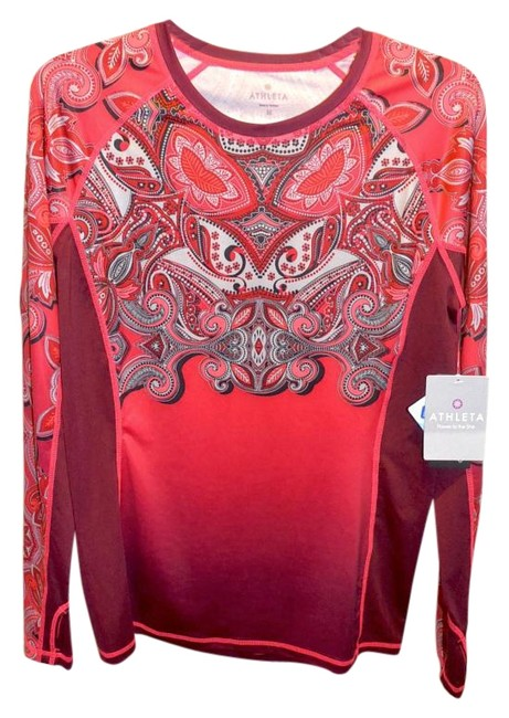 Item - Red Plum & Grey Print Cool Touch Runaway M Plsv Activewear Top Size 10 (M, 31)