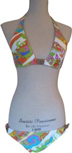 Trina Turk Trina Turk Bikini Swimsuit White Multi Top L Bottom M