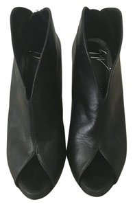 Giuseppe Zanotti Open Toe Leather Stiletto Black Boots