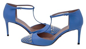 Gucci Studded Leather T-strap Pumps Light Blue Sandals