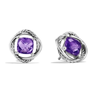David Yurman Infinity Stud Earrings with Amethyst