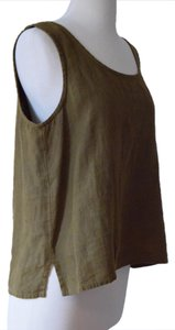 Eileen Fisher Linen Olive Natural Soft Top green