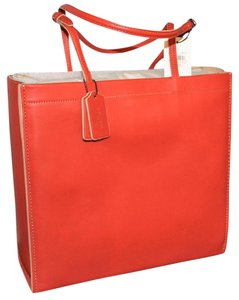 Coach Skinny Leather Shopping Tote in Red