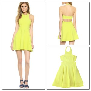 Elizabeth and James A-line Halter Cut-out Fit & Flare Zip Dress