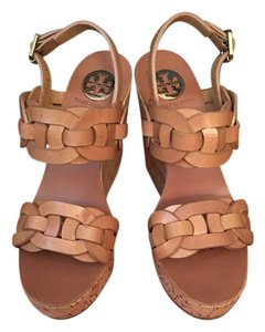 Tory Burch Classic Leather Wedge Natural Sandals