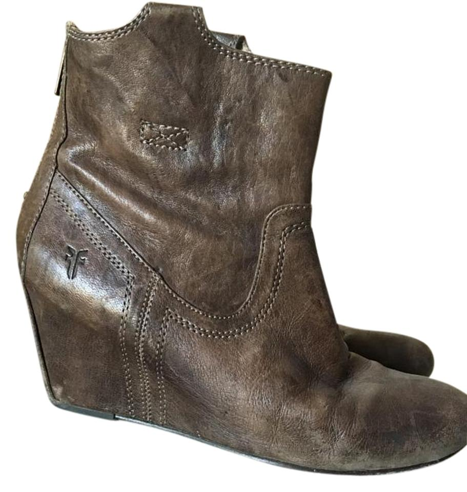 2a63d128286 Frye Brown  Taupe Carson Wedge Bootie Size US 7.5 - Tradesy