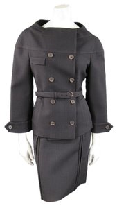 Prada Brown & Navy Plaid Wool High Neckline 60's Style Skirt Suit