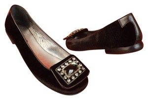 Taryn Rose Velour Crystal Jewelry Black Flats