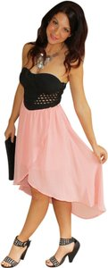 Social Butterfly House High-low Lattice Appeal Cocktail Occasion Strapless Dress