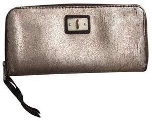 AllSaints Metallic Bay Wallet Pewter Clutch