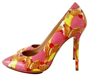 Charlotte Olympia Leather Sundae Print Python Pumps