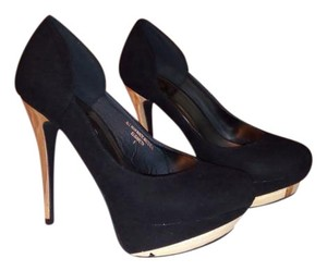 Red Circle Footwear Gold Hardware Black Suede Pumps