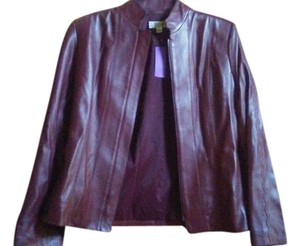 St. John Maroon Leather Jacket