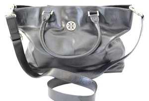 Tory Burch Leather Dena Convertible Leather Penny Lane Tote in Black
