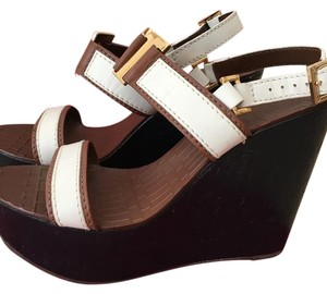 Tory Burch Navy blue/ brown/ white/ gold hardware Wedges