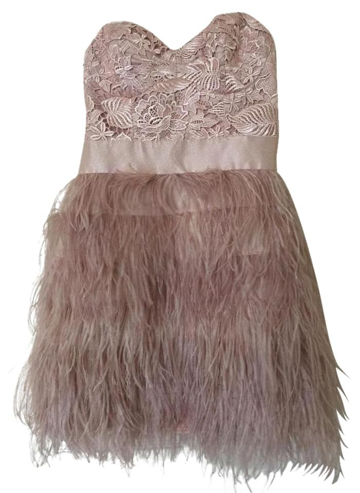 d01902deeb bebe Blush Pink Isis Sequin Feather Mini Night Out Dress Size 0 (XS ...