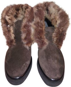 Robert Clergerie Real Fur Ankle Boot Suede Brown Boots