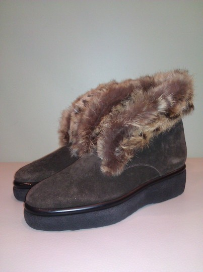 Robert Clergerie Real Fur Ankle Suede Brown Boots
