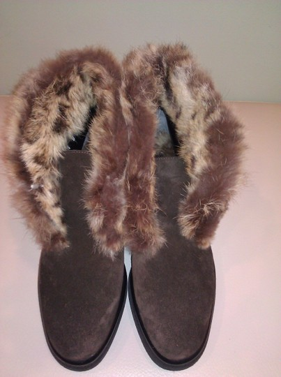 Robert Clergerie Real Fur Ankle Suede Brown Boots Image 2
