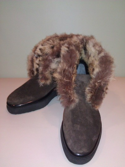 Robert Clergerie Real Fur Ankle Suede Brown Boots Image 3