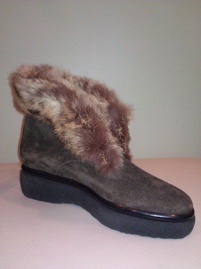 Robert Clergerie Real Fur Ankle Suede Brown Boots Image 4
