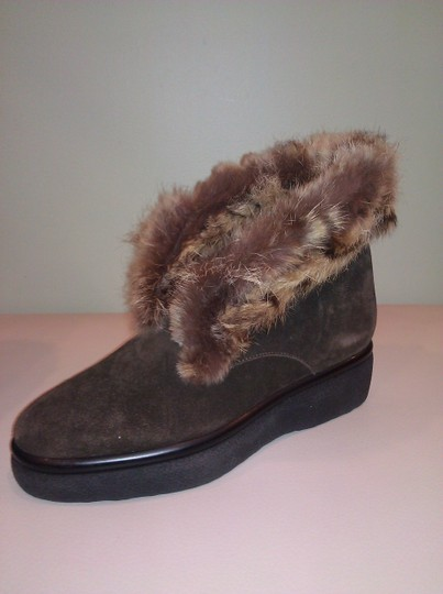 Robert Clergerie Real Fur Ankle Suede Brown Boots Image 5