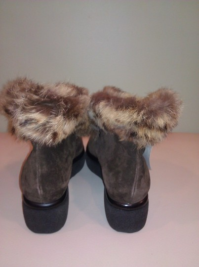Robert Clergerie Real Fur Ankle Suede Brown Boots Image 6