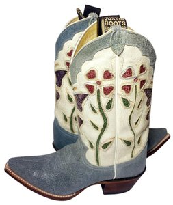 Justin Boots Cowgirl 6.5 Blue & White Boots