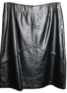 Apostrophe Leather A-line Classic Knee Length Skirt Black