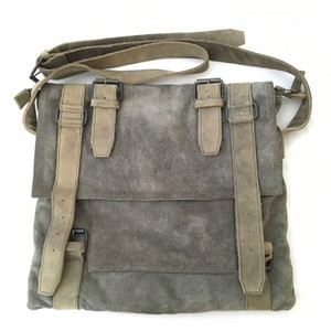AllSaints Suede Leather Army Brushed Grey/Green Messenger Bag