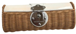 MICHAEL Michael Kors White And Wicker Clutch