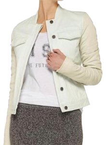 T by Alexander Wang Denim Leather Sleeves Cool Denim Seafoam & creme Leather Jacket