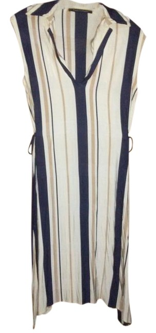 Item - Ivory Beige Blue Made In Italy Striped Mid-length Casual Maxi Dress Size 8 (M)
