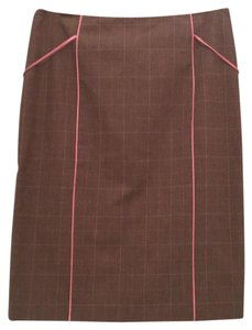 Rebecca Taylor Fall Autumn Skirt Brown plaid and pink