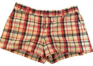 American Eagle Outfitters Bermuda Shorts Red, orange, beige, navy plaid