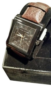 Marc Anthony New Marc Anthony collection Men's Black Dial Brown Leather Belt Watch