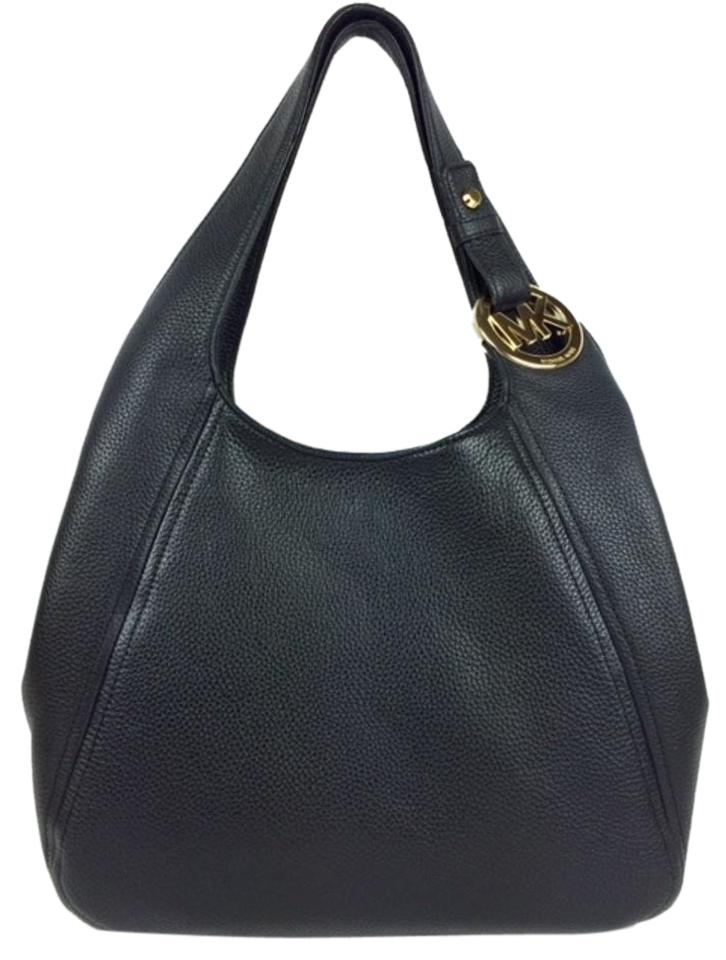 ed547f9fcfc6 Michael Kors Fulton Large Shoulder Black Pebble Leather Tote - Tradesy