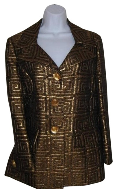 Item - Brown and Gold Blazer Skirt Suit Size 10 (M)