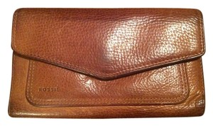 Fossil Fossil Leather Checkbook Wallet in Cognac.