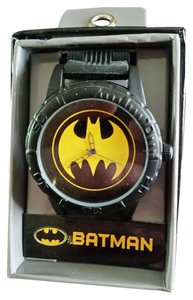 DC Comics New BATMAN DC Comics Black tone Bullet Strap Watch Yellow Bat Logo
