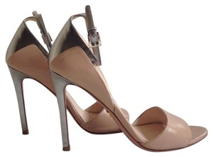Prada Bicolor Ankle-strap Silver/Tan Sandals