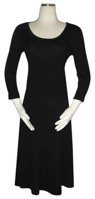 Item - Black Knit Ribbed Wool Sweater Long Work/Office Dress Size 8 (M)