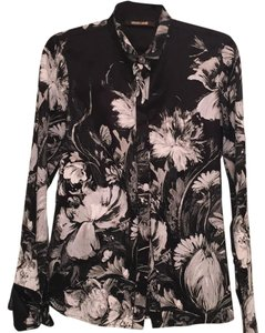 Roberto Cavalli Floral Silk Button Down Shirt Black and white
